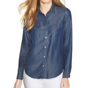 White House Black Market Blue Denim Shirt